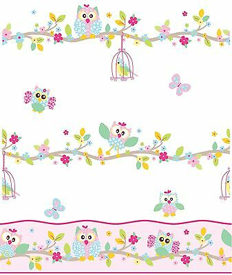 PATCHWORK OWL WALLPAPER And Border - White Pink Pastel Bedroom Nursery - EUR 9,70 | PicClick FR