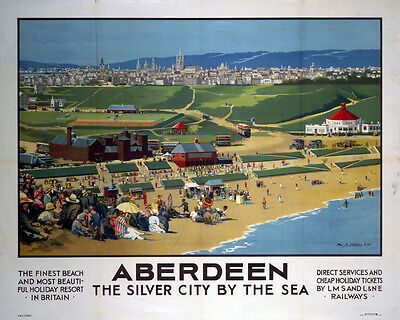 Vintage Rail travel railway poster  A4 RE PRINT Aberdeen