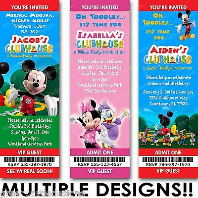 Mickey Minnie Mouse Clubhouse Birthday Party Invitation