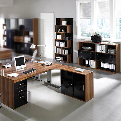 b rom bel set nussbaum hochglanz schwarz aktenschrank schreibtisch aktenregal eur. Black Bedroom Furniture Sets. Home Design Ideas