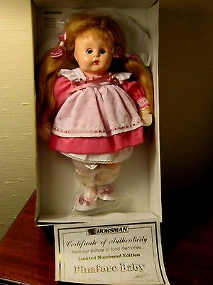 "1996 HORSMAN ""PINAFORE BABY"" DOLL/ORIG. BOX/CERTIFICATE 14"" TALL"