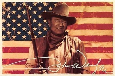 JOHN WAYNE - AMERICAN FLAG POSTER - 24x36 COWBOY MOVIE DUKE US 241251