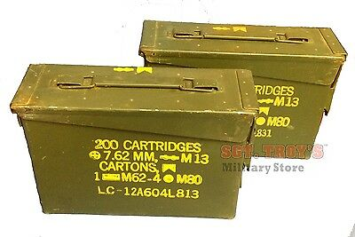 TWO USGI METAL 30 CAL 7.62mm AMMO CAN M19A1 AMMO BOX .30 CALIBER GOOD-VERY GOOD