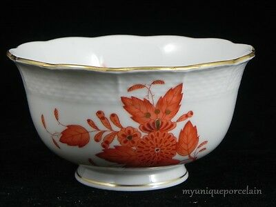 HEREND HUNGARY HANDPAINTED CHINESE BOUQUET RUST 684/A06 SMALL SERVING BOWL DISH