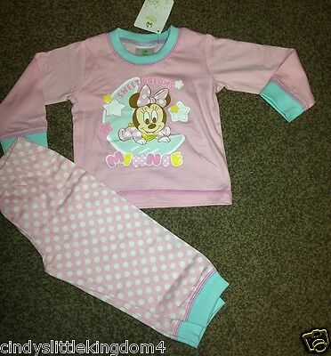 Disney Minnie Mouse baby girls pink long pyjamas nightwear sleepwear