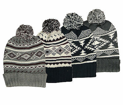 Soul Star New Nordic Knit Bobble Beanie Hat Knitted Ski Snow Winter Style Unisex