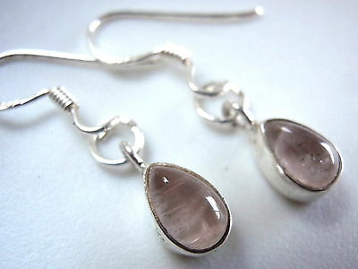 Very Small Rose Quartz 925 Sterling Silver Earrings New