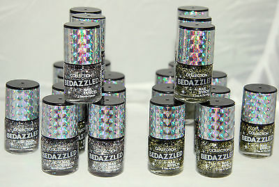 24 x COLLECTION BEDAZZLED NAIL EFFECTS POLISH | 2 GLITTER SHADES |  RRP £72 |