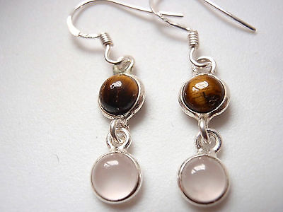 Very Small Rose Quartz & Tiger Eye Two Stone 925 Sterling Silver Dangle Earrings
