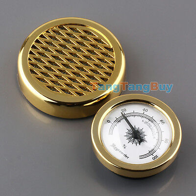 GOLD Color Smoking Tobacco Hygrometer + Humidifier for Cigar Humidor Humidors