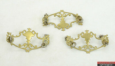 "Lot 3 Victorian Antique Ornate Dresser Drawer Pull Plates 3 1/8"" Hole Distance"