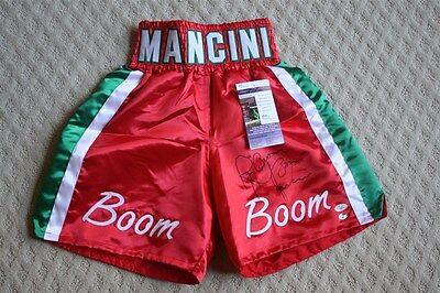 Ray Boom Boom Mancini Signed Auto Red Boxing Trunks Jsa Autographed