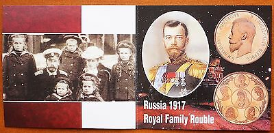 1917 Russia  Nicholas II Memorial Rouble Prooflike Golden Alloy Royal Family