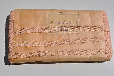 real vintage  pink valenciennes cotton lace trim 3 mtrs made in France