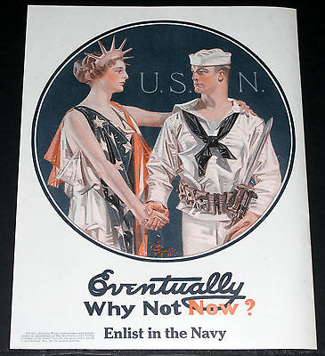 1917 Rare Wwi Magazine Print Ad, Enlist In The Us Navy, Leyendecker Art, Poster!