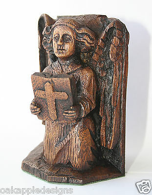 Angel Reading Bible Ornament Reproduction Medieval Carving Praying Church Gift