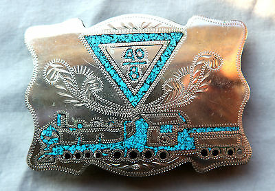 Vintage CB  Hand Made Turquoise Train Inlay Western Belt Buckle