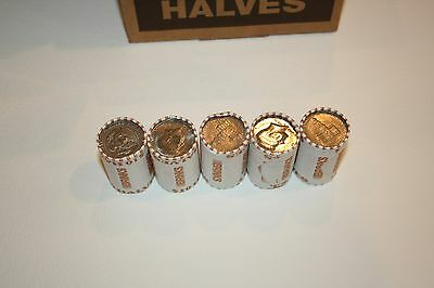 5 Bank Wrapped Rolls of Kennedy Half Dollars Unsearched $50 FV