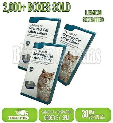 New 72 Scented Large Hygienic Disposable Used Cat Litter Tray Liners 62Cm X 60Cm