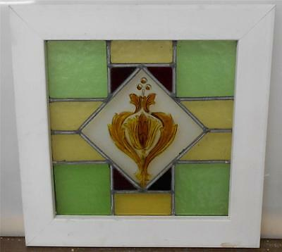 "VICTORIAN ENGLISH LEADED STAINED GLASS  WINDOW Handpainted Floral 19"" x 19"""