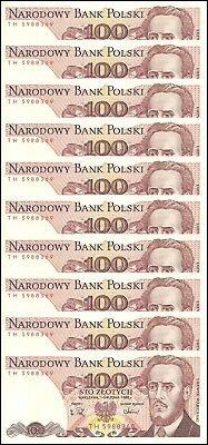 Poland 100 Zlotych X 10 Pieces (PCS) 1988, P-143e, UNC