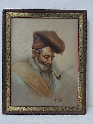 -10%  Signed orientalist Middle Eastern man smoking long pipe portrait painting