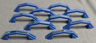 10 Vintage Blue Chrome Cabinet Door Drawer Pulls Old Hardware NOS With Screws 1
