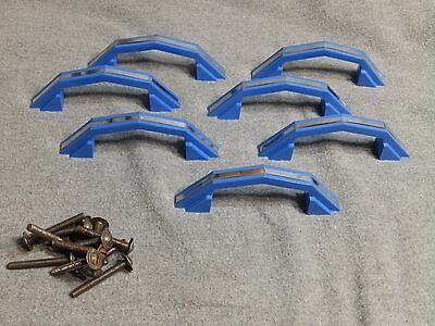7 Vintage Blue Chrome Cabinet Door Drawer Pulls Old Hardware NOS With Screws 4
