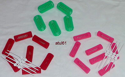 Plastic Hair Rollers/Curlers 25Mm Green Or 25 Mm Red,  20 Mm Pink New