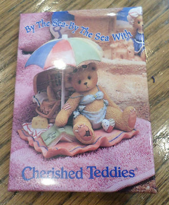 Cherished Teddies Bear Button Pin  By The Sea Swimming Suit Umbrella Beach Theme