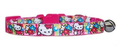 "Pink super cute   ""Hello Kitty  Floral ""safety kitten cat  collar 3 sizes"