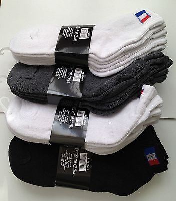 12 Pairs Athletic, Solid & Wht, Blk, Grey Ankle Crew Mens Sport Socks Size 9-11