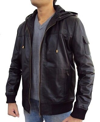 Men's Lambskin Leather Fixed Hoodie Jacket with Knitted Ribs