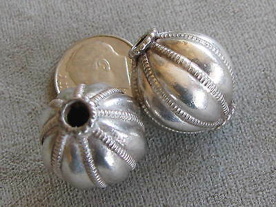 Pr Big Vintage Sterling Silver Beads Hand Crafted 21x19mm