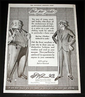 1915 Old Magazine Print Ad, E.v. Price, Spring Clothes Tailored To Order, Art!