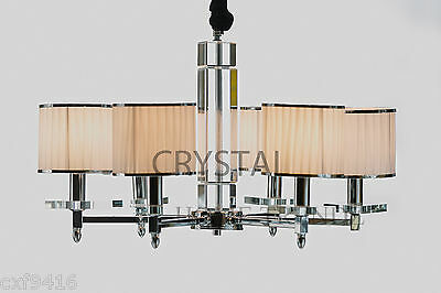 6 arm Modern crystal light drum fixture chandelier with chains 829