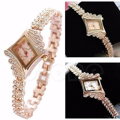 Fashion New Women Girls Alloy Crystal Quartz Rhombus Bracelet Bangle Wrist Watch