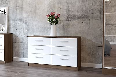 Lynx High Gloss White and Walnut 6 drawer midi chest bedroom new