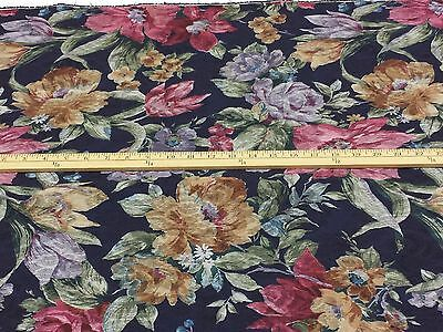 "Polyester Blend Jacquard: Floral Print on Navy, 60""W, 3 Yds"