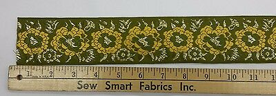 "Fabric Trim: Yellow Flowers and Metallic Gold on Olive, 2.125"" W, 3 yd. piece"