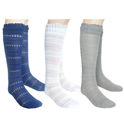 Girls Flat toe seam Back to School Knee High Pointelle Socks white
