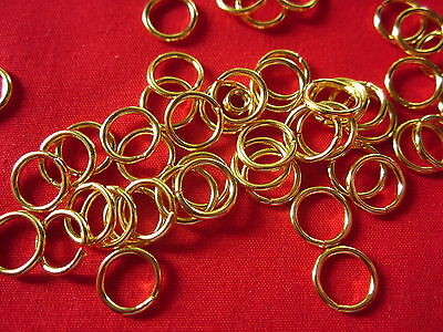 100 Strong Gold Coloured Alloy Jump Rings 9x1.2mm #2167 Combine Post-See Listing