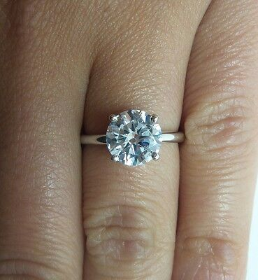 2.20 Ct Round Cut D/SI1 Diamond Engagement Ring 14K White Gold  View Video !