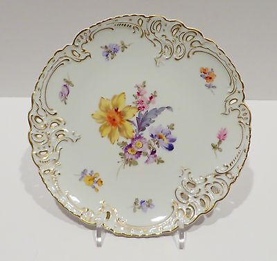 """Nymphenburg 1012 Handpainted Reticulated 7.5"""" Floral Dessert Cabinet Plate 226"""
