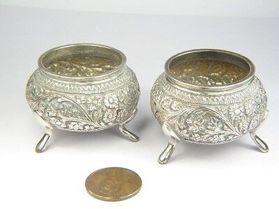 QUALITY ANTIQUE 19th CENTURY INDIAN SILVER SALT CELLARS