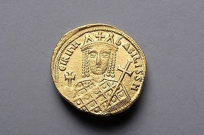 Rare Byzantine Gold Solidus Coin of Empress Irene - 797 AD