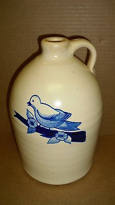 LARGE OLD GLAZED JUG WITH BLUE BIRD ON BRANCH