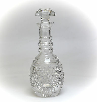 English Crystal Decanter; 1st Half of 20th Century Hand Cut & Polished; Textured
