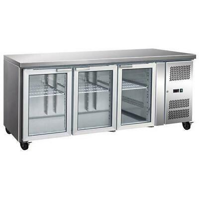 Bench Fridge with Glass Front, 3 Door Gastronorm Refrigerator, 1795x700x850mm