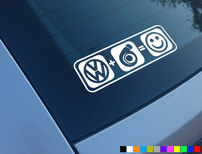 Vw Plus Boost Equals Smiles Car Sticker Funny Decal Turbo Golf Gti 1.8T 20Vt